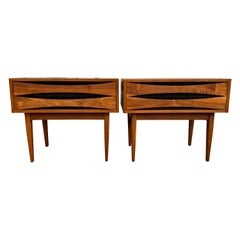 Pair of Mid-Century Modern Solid Walnut Nightstands Style of Arne Vodder