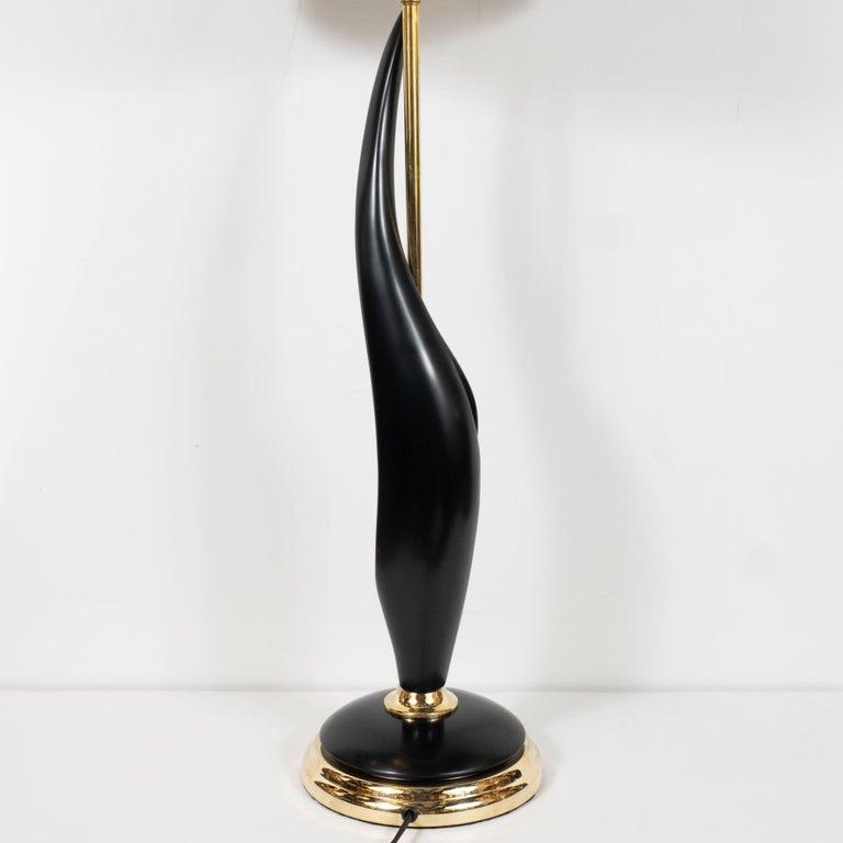 Pair of Mid-Century Modern Spiral Form Ebonized Walnut and Brass Table Lamps For Sale 5