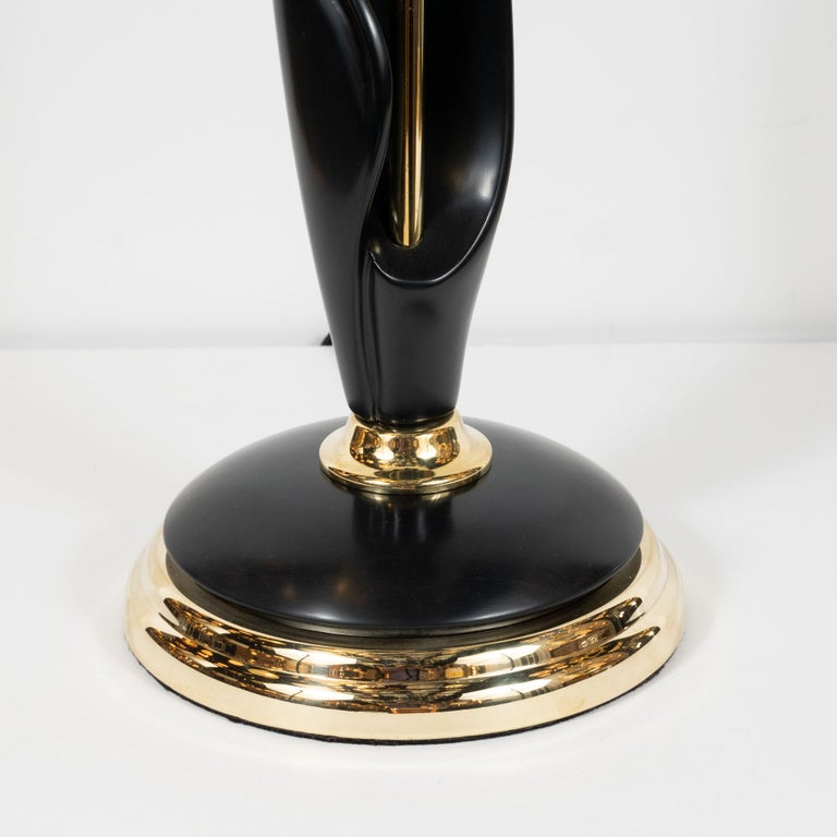 American Pair of Mid-Century Modern Spiral Form Ebonized Walnut and Brass Table Lamps For Sale