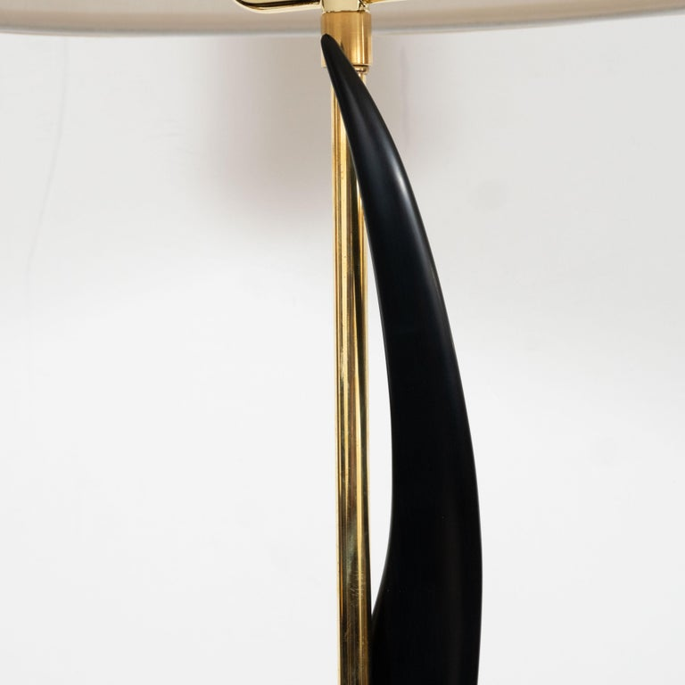 Late 20th Century Pair of Mid-Century Modern Spiral Form Ebonized Walnut and Brass Table Lamps For Sale