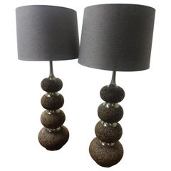 Pair of Mid-Century Modern Stacked Cork with Chrome Table Lamps