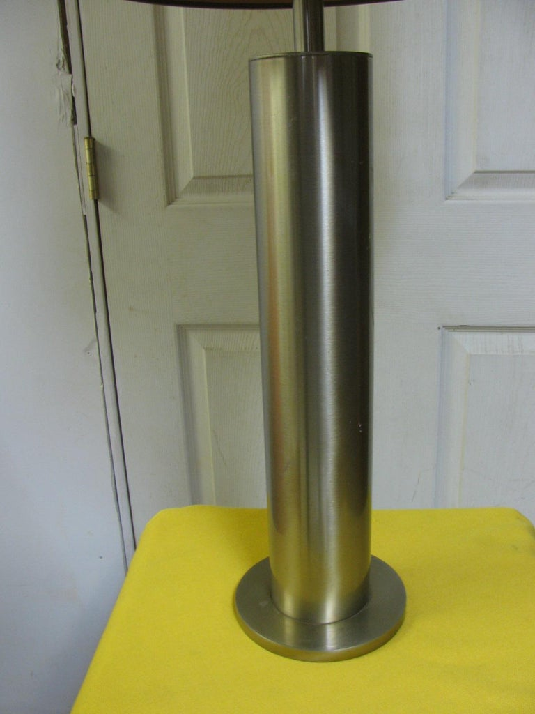 Industrial Pair of Mid-Century Modern Stainless Steel Cylindrical Table Lamps For Sale