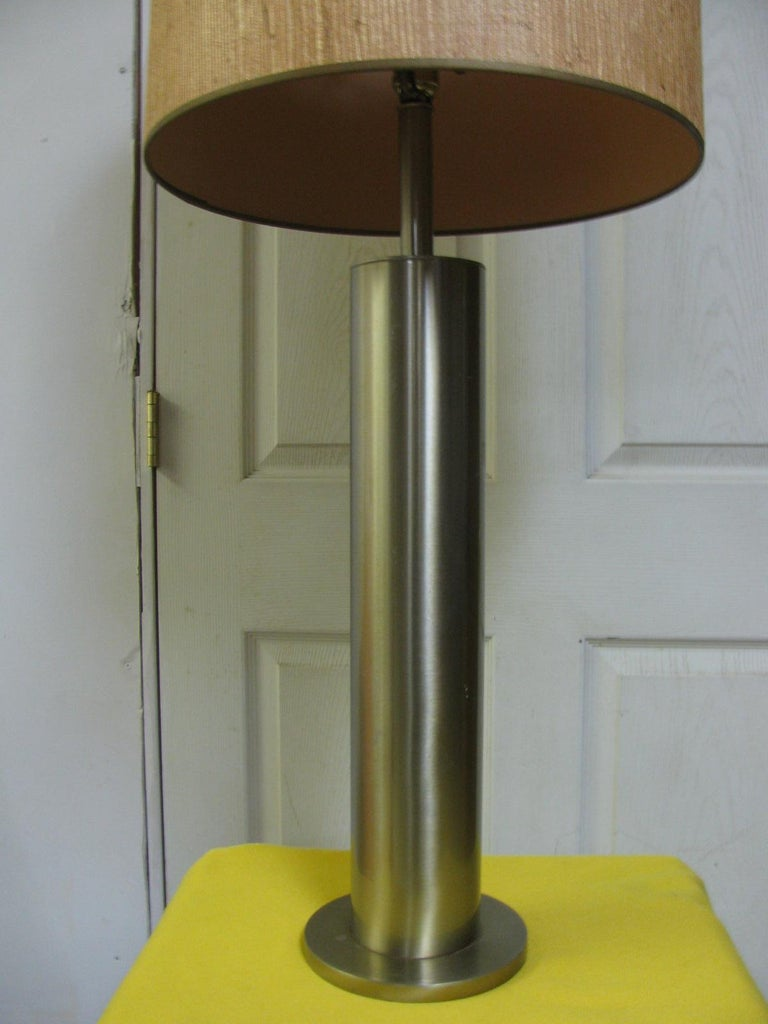 Mid-20th Century Pair of Mid-Century Modern Stainless Steel Cylindrical Table Lamps For Sale