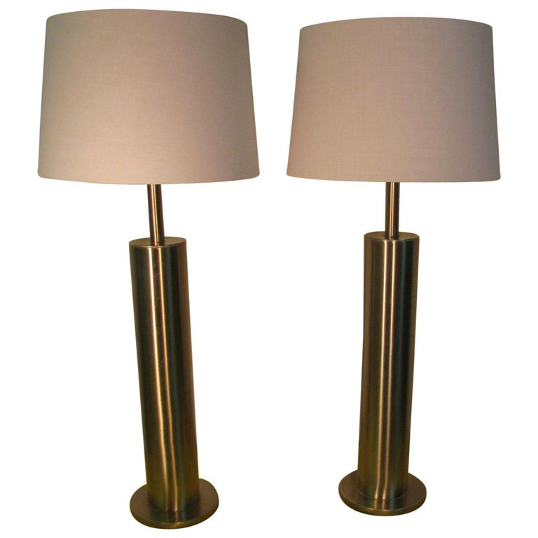 Pair of Mid-Century Modern Stainless Steel Cylindrical Table Lamps For Sale