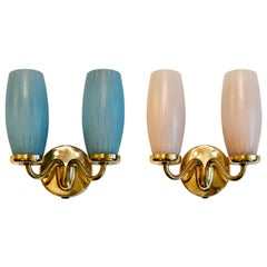 Pair of Mid-Century Modern Stilnovo Style Brass, Blue and Pink Glass Wall Sconce