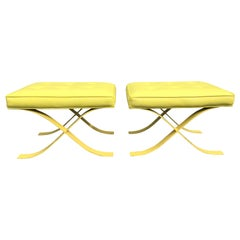 Pair of Mid-Century Modern Stools Ottomans Barcelona Style Yellow