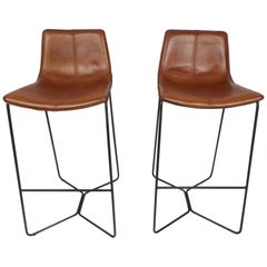 Pair of Mid-Century Modern Stools with Leather Upholstery