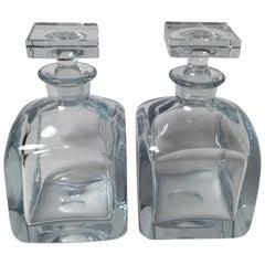Pair of Mid-Century Modern Strombergshyttan Swedish Crystal Decnaters