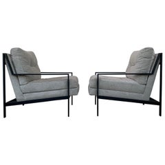 Pair of Mid-Century Modern Style Armchairs with Black Metal Frames