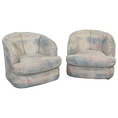 Pair of Mid-Century Modern Style Barrel Back Swivel Club Chairs
