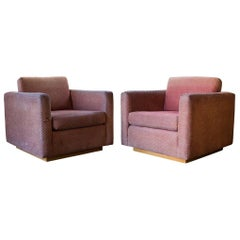 Pair of Mid-Century Modern Style Charles Webb Signed Arlington Cube Club Chairs