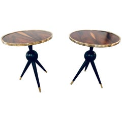 Pair of Mid-Century Modern Style Ebony Bronze Base and Rosewood End Tables