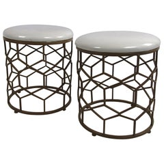Pair of Mid-Century Modern Style Faux Brass Base White Vinyl Stools