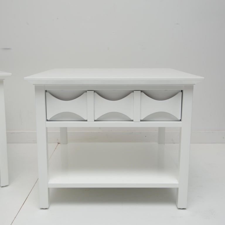 Nice pair of Mitchell old end tables that were brown stain but look so much better in their current dove white lacquer.