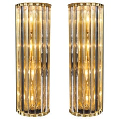 Pair of Mid-Century Modern Style Murano Glass Rods and Brass Wall Sconces, Italy