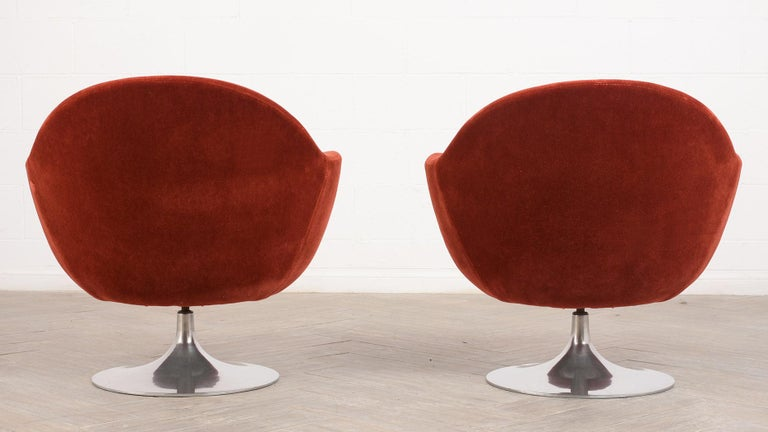 American Pair of Mid-Century Modern Style Swivel Lounge Chairs