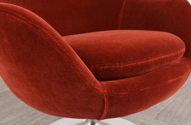 Hand-Crafted Pair of Mid-Century Modern Style Swivel Lounge Chairs