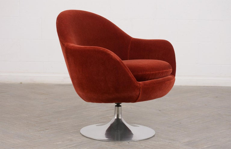 Fabric Pair of Mid-Century Modern Style Swivel Lounge Chairs