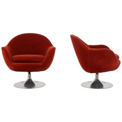 Pair of Mid-Century Modern Style Swivel Lounge Chairs