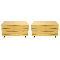 Pair of Mid-Century Modern Style Wood and Brass Italian Commodes