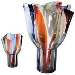 Pair of Mid-Century Modern Styled Venini Art Glass Kukinto Vases by Sarpeneva