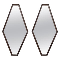 Pair of Mid-Century Modern Stylized Geometric Ebonized Walnut Hexagonal Mirrors