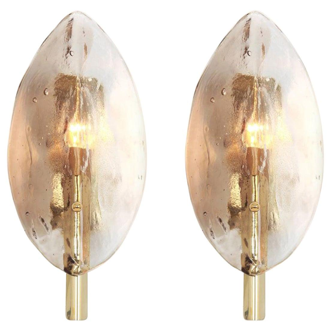 Pair of Mid-Century Modern Stylized-Leaf Wall Sconces, Kalmar, 3-Pair Available