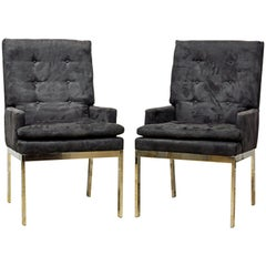 Pair of Mid-Century Modern Suede Covered Armchairs Attributed to Milo Baughman