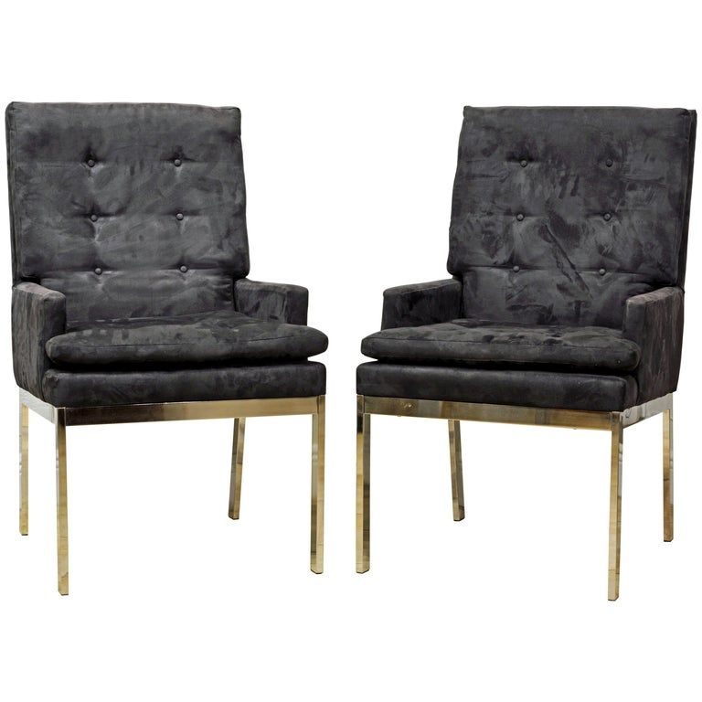 Pair of Mid-Century Modern Suede Covered Armchairs Attributed to Milo Baughman For Sale