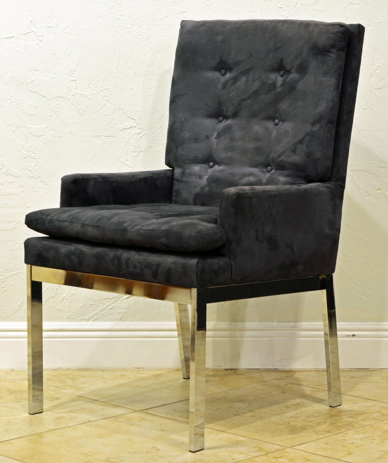 American Pair of Mid-Century Modern Suede Covered Armchairs Attributed to Milo Baughman For Sale