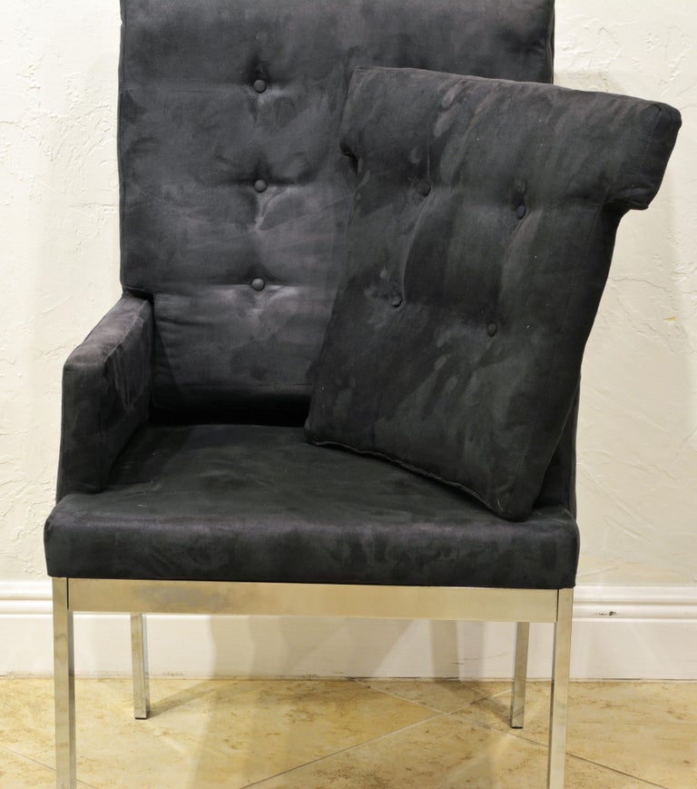 20th Century Pair of Mid-Century Modern Suede Covered Armchairs Attributed to Milo Baughman For Sale