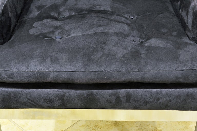 Pair of Mid-Century Modern Suede Covered Armchairs Attributed to Milo Baughman For Sale 2