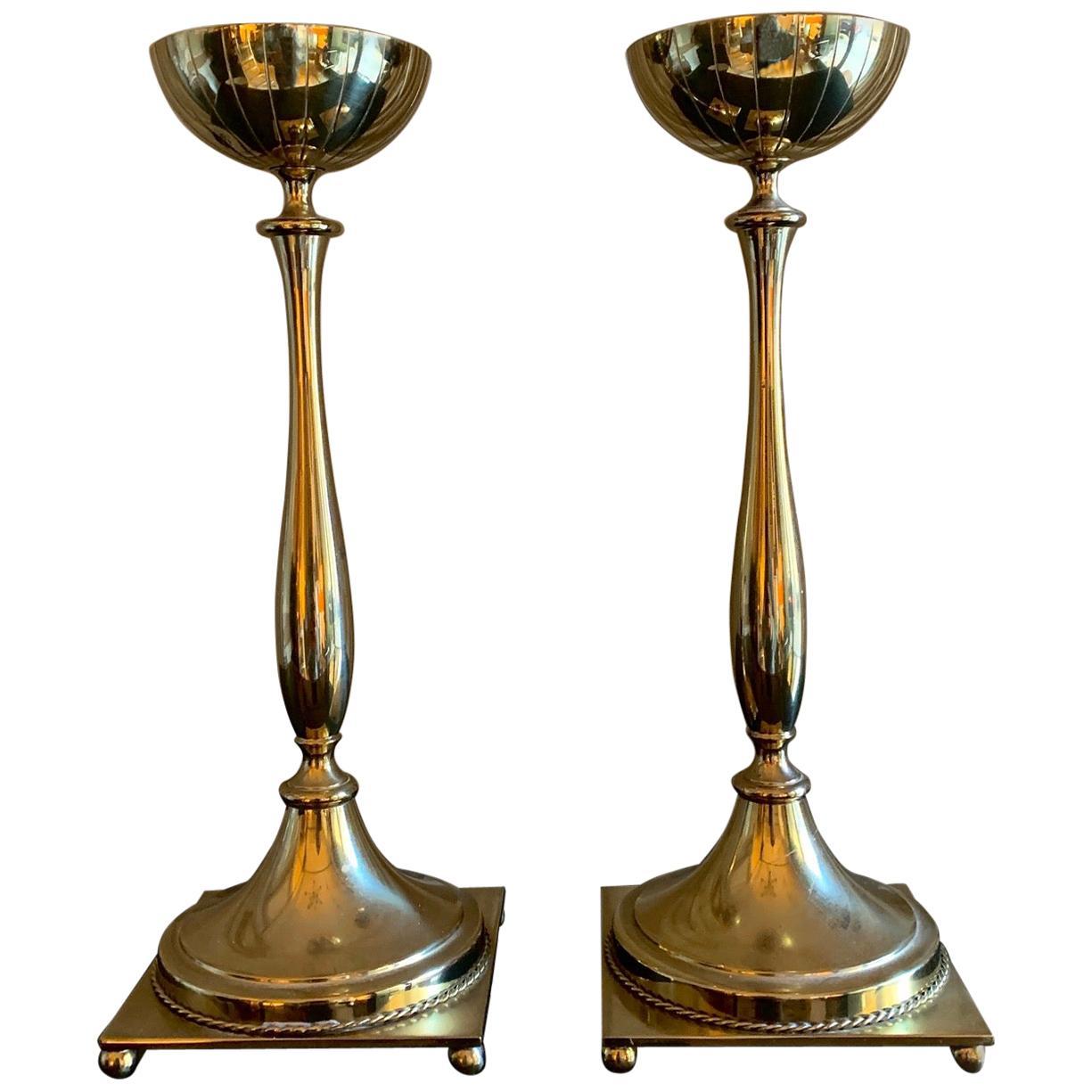 Pair of Mid-Century Modern Swedish Candlesticks in Brass