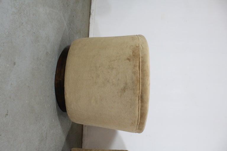 Pair of Mid-Century Modern Milo Baughman Style Walnut Base Swivel Club Chairs  For Sale 3