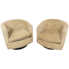Pair of Mid-Century Modern Milo Baughman Style Walnut Base Swivel Club Chairs