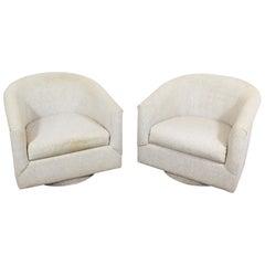 Pair of Mid-Century Modern Milo Baughman style Swivel Club Chairs  Platform Base