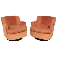 Pair of Mid-Century Modern Swivel Lounge Chairs Attributed to Adrian Pearsall