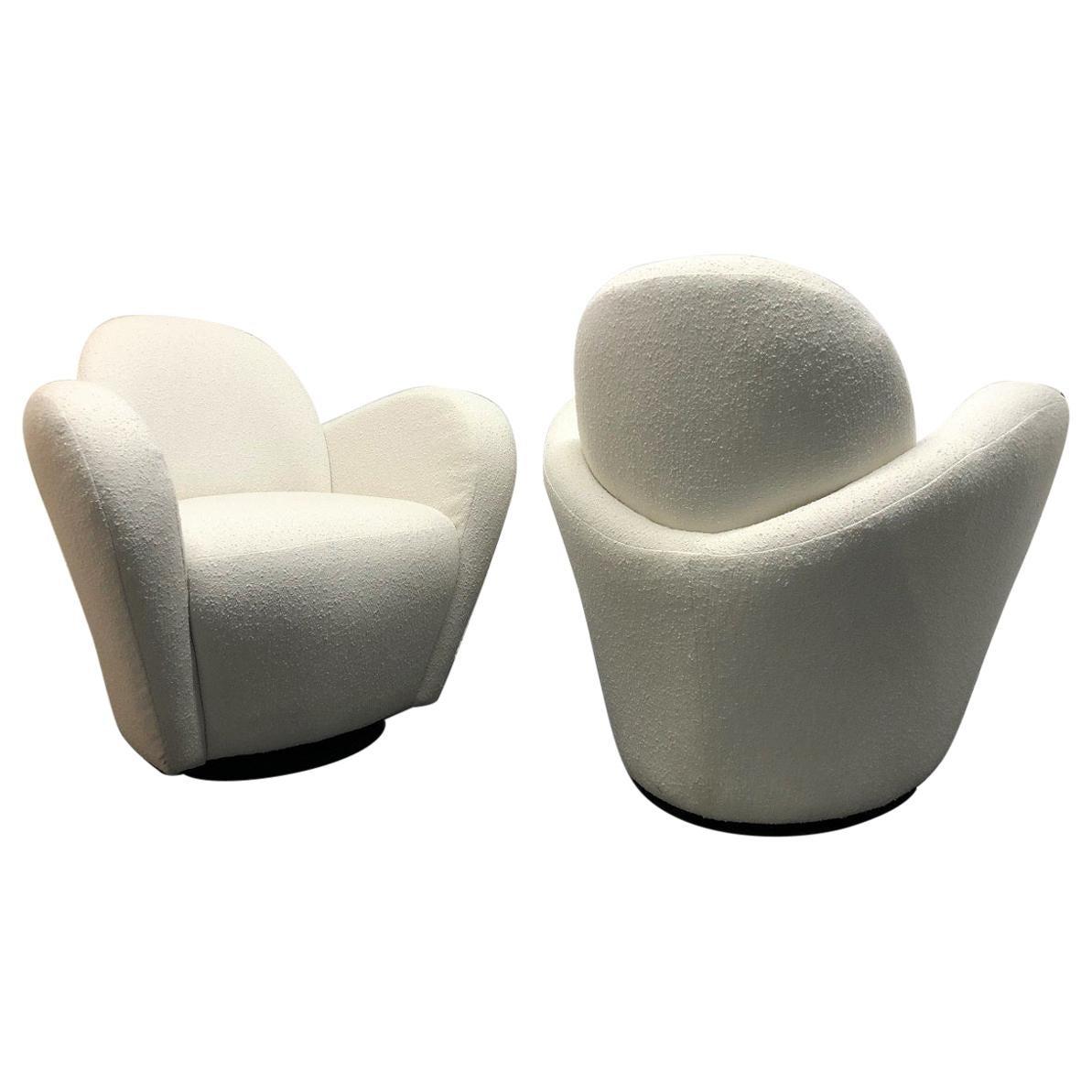 Pair of Vladimir Kagan for Directional Swivel Lounge Chairs