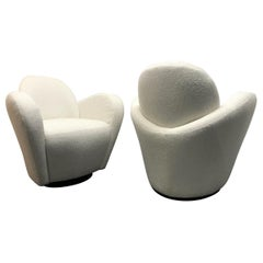 Pair of Vladimir Kagan for Directional Swivel Lounge Chairs