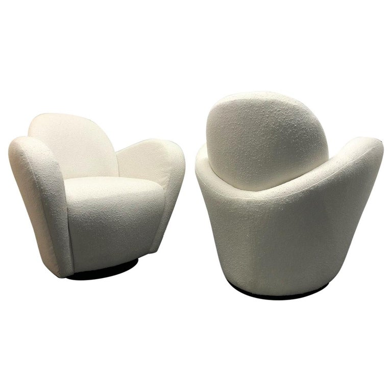 Pair of Vladimir Kagan for Directional Swivel Lounge Chairs For Sale