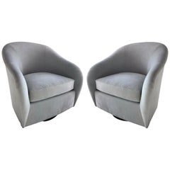 Pair of Mid-Century Modern Swivel Lounge Chairs in Grey Suede, 1970s