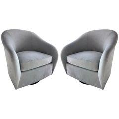 Pair of Mid-Century Modern Swivel Lounge Chairs in Grey Velvet, circa 1970s