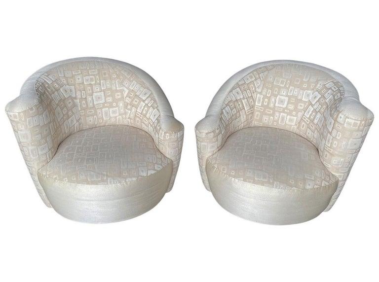 Fabric Pair of Mid-Century Modern Swivel Lounge Nautilus Chairs by Vladimir Kagan