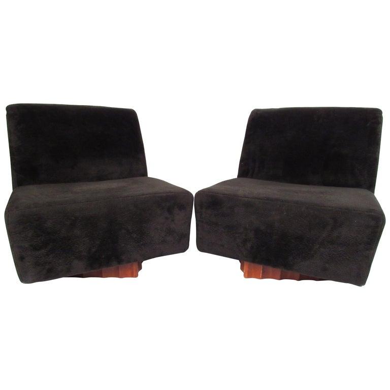 Groovy Pair Of Mid Century Modern Swivel Slipper Chairs Theyellowbook Wood Chair Design Ideas Theyellowbookinfo
