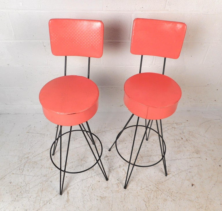 Pair of Mid-Century Modern Swivel Stools For Sale 1