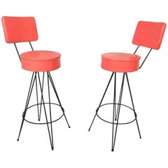 Pair of Mid-Century Modern Swivel Stools