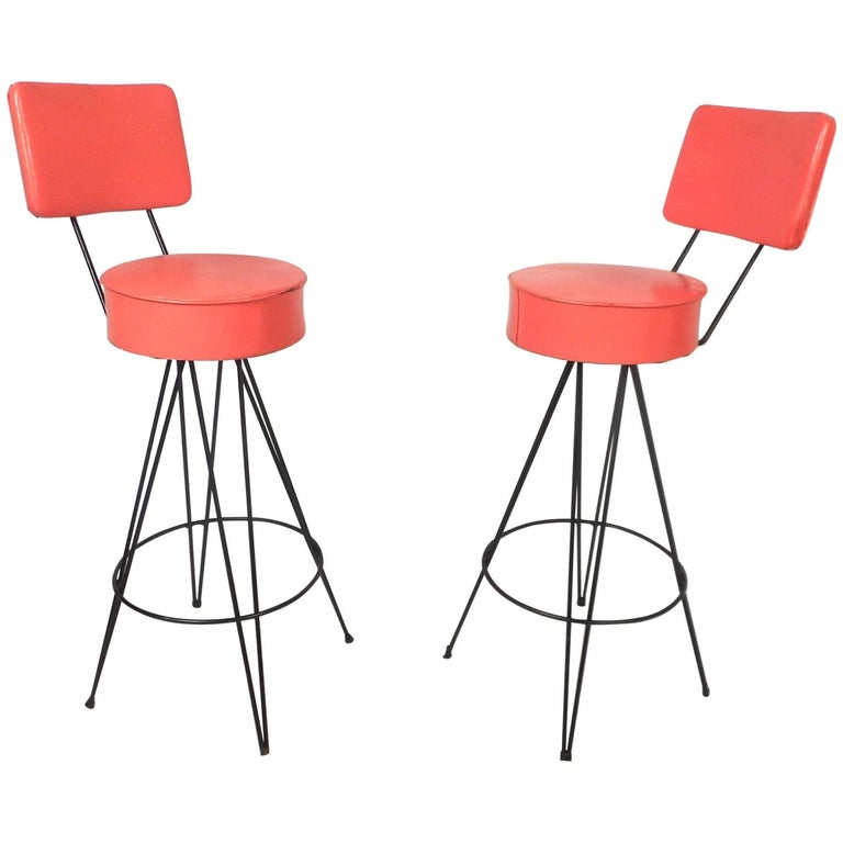 Pair of Mid-Century Modern Swivel Stools For Sale