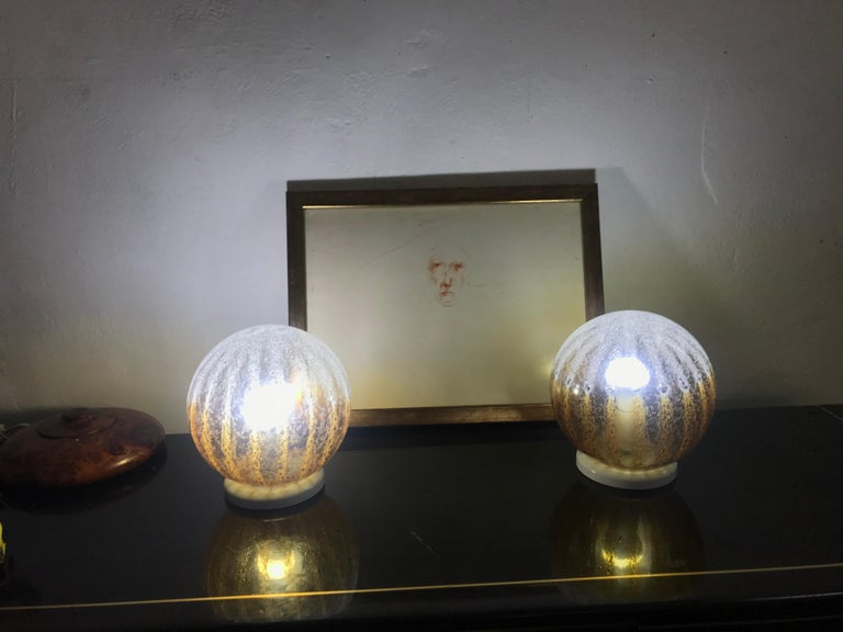 Pair of Mid-Century Modern Table Lamp by Mazzega in Murano Glass, circa 1960 In Good Condition For Sale In Merida, Yucatan