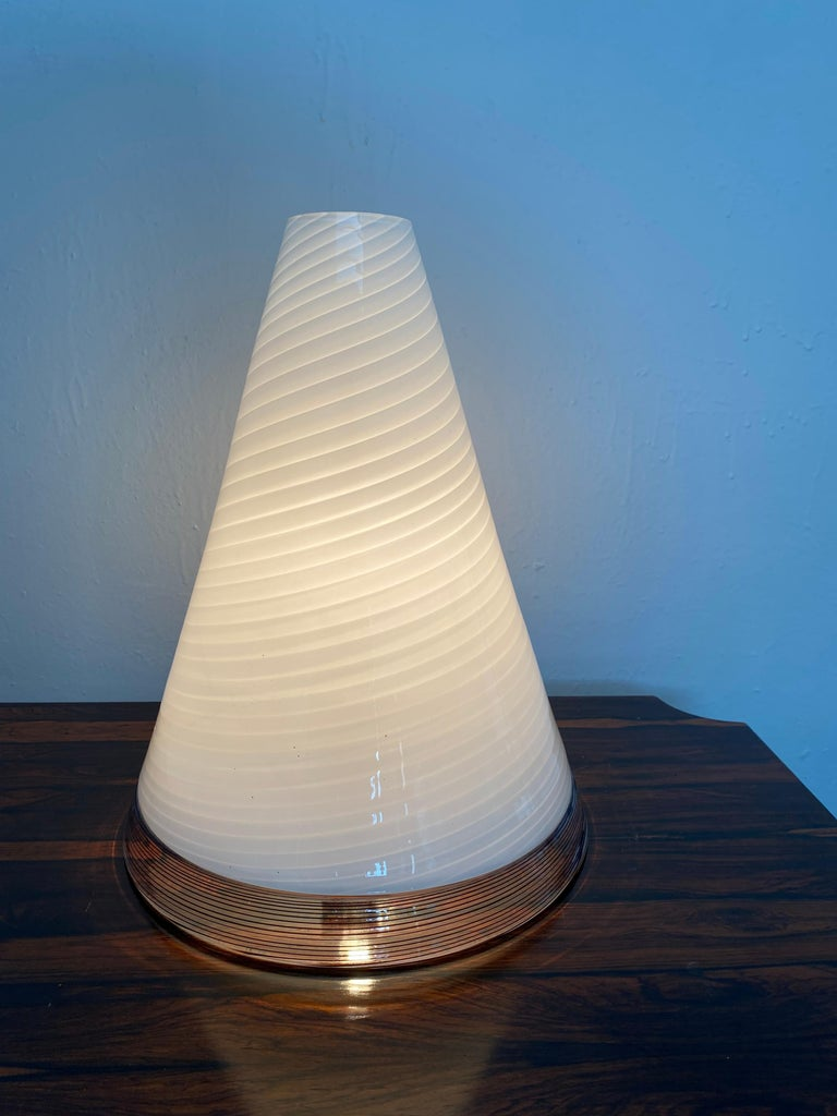 Italian Pair of Mid-Century Modern Table Lamps by Giusto Toso, Murano Italy, ca.1970 For Sale