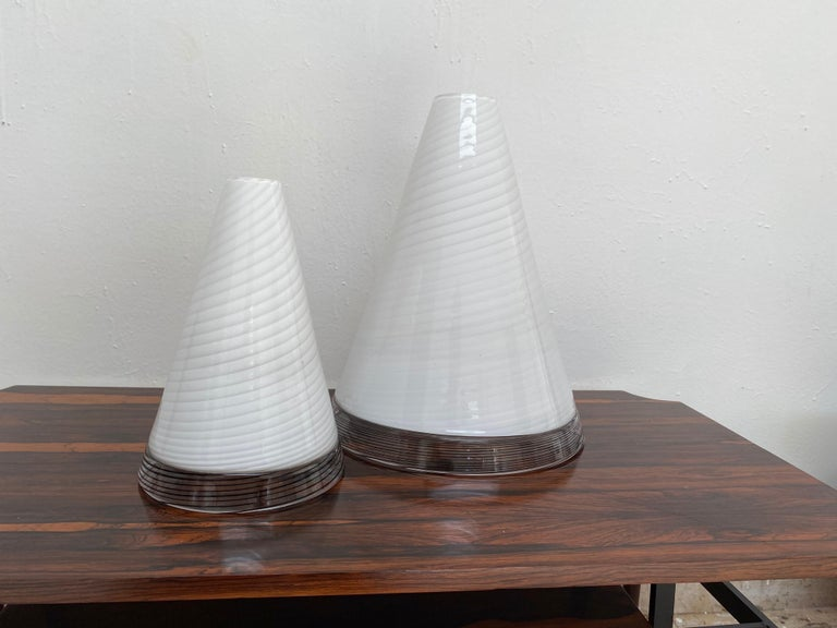 Murano Glass Pair of Mid-Century Modern Table Lamps by Giusto Toso, Murano Italy, ca.1970 For Sale
